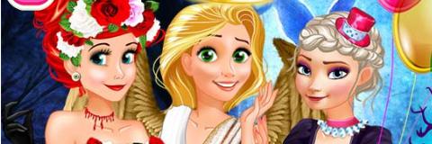 Elsa, Rapunzel e Ariel no Halloween