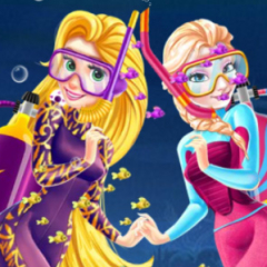 Jogo Rapunzel e Elsa no Fundo do Oceano